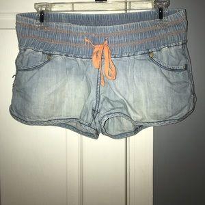 Fake Denim Shorts With Orange Tie